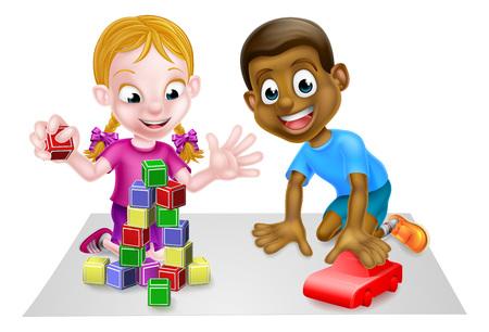 Dessin animé garçon et fille jouant avec la voiture et les blocs