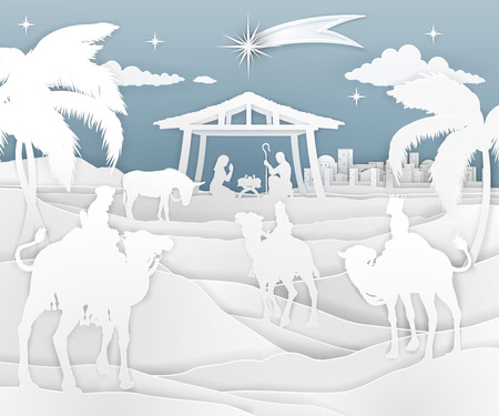 Nativity Christmas Scene Paper Style Фото со стока - 109221284