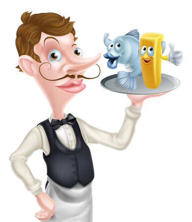 An Illustration of a Cartoon Waiter Holding Fish and Chips Illustration