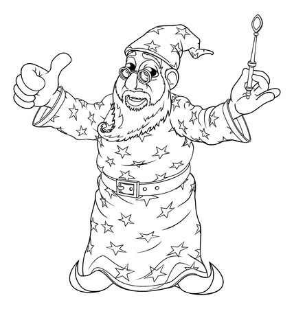 Wizard Outline Coloring Drawing