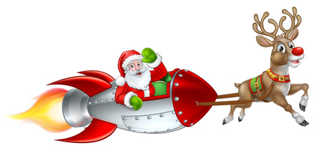 Santa Claus Christmas cartoon character riding in rocket ship sleigh pulled by a red nosed reindeer