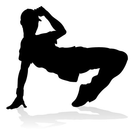 Un bailarín de hip hop street dance masculino en silueta Ilustración de vector