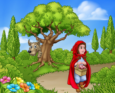 Scene from the childrens fairytale of  little red riding hood cartoon character holding her basket walking through the woods to gradmas house as the big bad wolf peeks from around a tree.