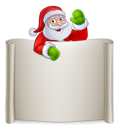 Santa Claus Christmas cartoon character pointing at a scroll banner sign and waving 向量圖像