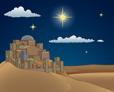 Nativity Christmas Bethlehem Star Cartoon Scene