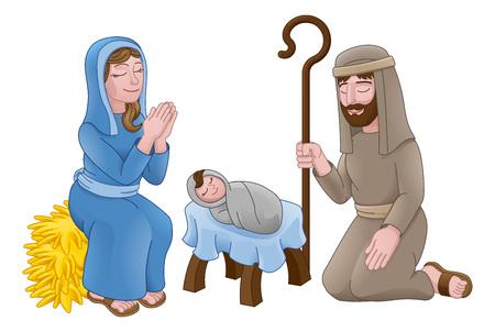 Szopka bożonarodzeniowa z Dzieciątkiem Jezus, Maryją i Józefem w żłobie. Ilustracje wektorowe