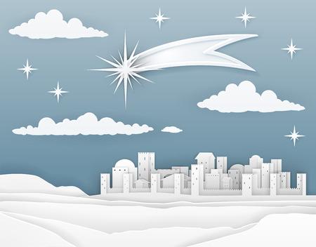 Nativity Christmas Bethlehem Paper Scene Vektorové ilustrace