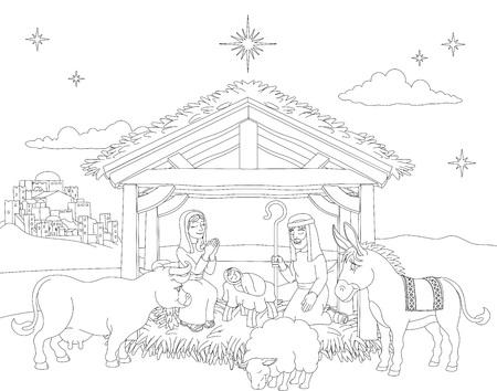 Cartoon Christmas Nativity Scene Coloring Archivio Fotografico