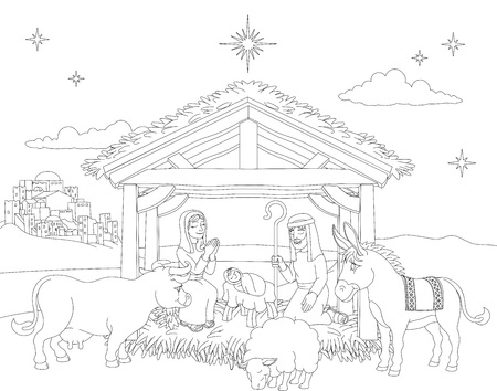 Cartoon Christmas Nativity Scene Coloring Stock Photo