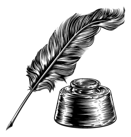 Quill Feather Pen and Ink Well