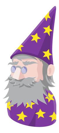 A Wizard avatar cartoon person icon emoji Vectores