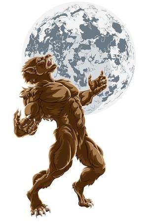 Full Moon Werewolf Scary Horror Monster Banco de Imagens