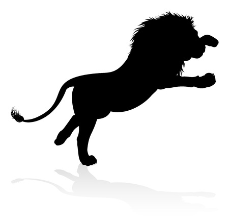 A male lion safari animal in silhouette