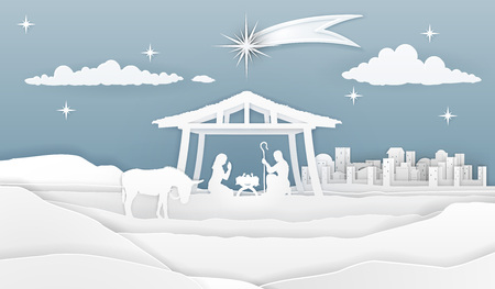 A nativity Christmas scene in a silhouette cut paper style. Baby Jesus in manger. City of Bethlehem in the background. The star above stable. Christian religious illustration.