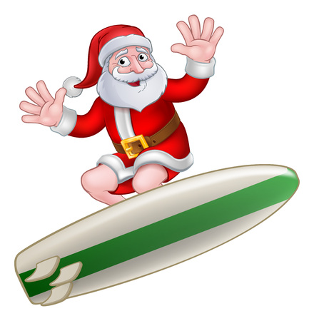 Santa Claus surfing on his board Christmas cartoon illustration