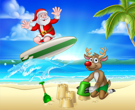 Santa Claus and Reindeer Christmas Beach Scene
