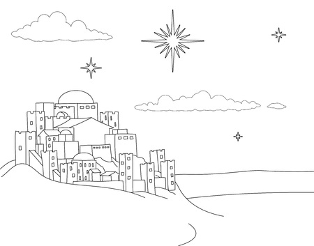 Nativity Christmas City Cartoon Scene Coloring