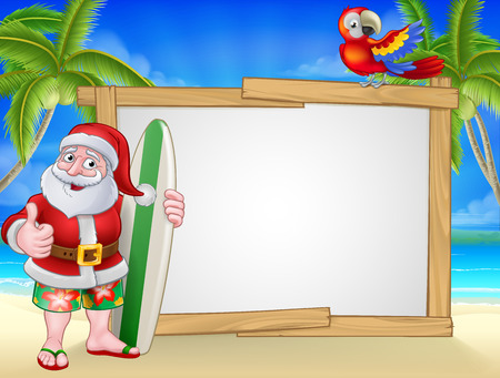 Santa Claus in shorts and flip flops holding his surfboard on a tropical beach with palm trees and parrot Christmas cartoon sign background.