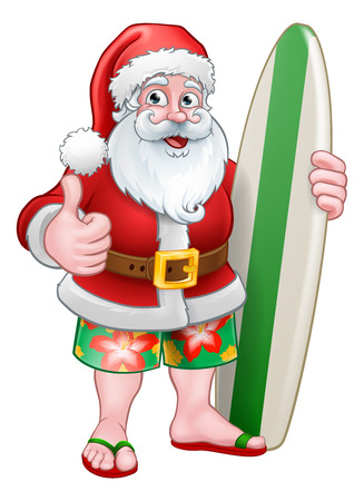 Santa Claus in shorts holding his surfboard Christmas cartoon