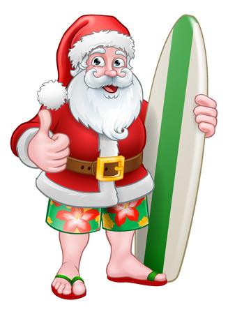 Santa Claus in shorts holding his surfboard Christmas cartoon