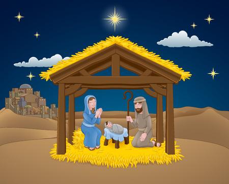 Dibujos animados de escena de Navidad de Natividad
