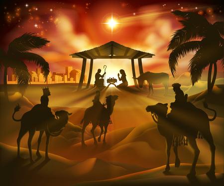 Escena navideña de la natividad Ilustración de vector