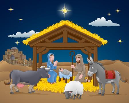 Kreskówka szopka bożonarodzeniowa z Dzieciątkiem Jezus, Maryją i Józefem w żłobie z osłem i innymi zwierzętami. Miasto Betlejem i gwiazda powyżej. Chrześcijańska ilustracja religijna.