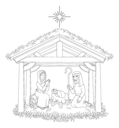 Christmas Nativity Scene Cartoon Coloring