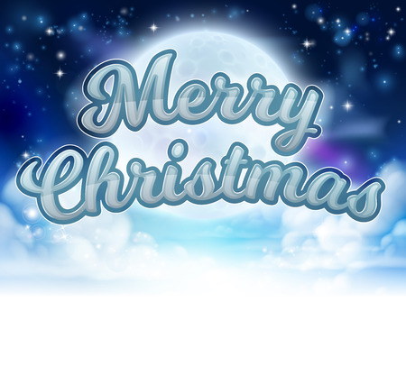 A Merry Christmas message sky clouds and moon cartoon graphic Illustration
