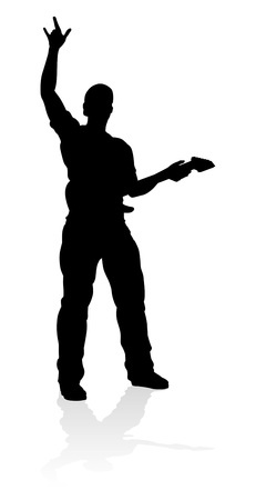 Musician Guitarist Silhouette vector illustration
