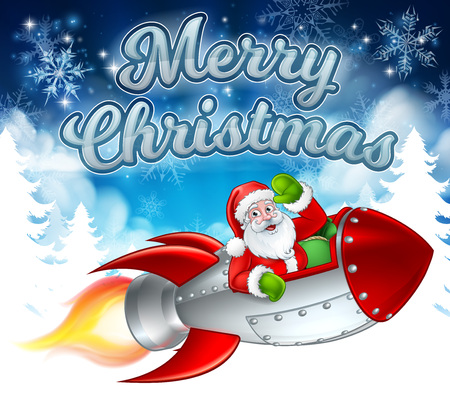 Santa Claus cartoon character in his space rocket sleigh flying over a winter wonderland snowy landscape with Merry Christmas message Illustration