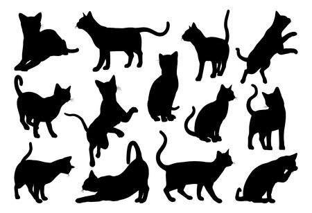 Un set di grafica di animali da compagnia di sagome di gatto