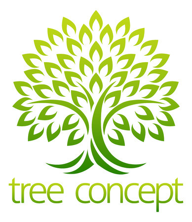 Tree icon concept of a stylised tree with leaves, lends itself to being used with text  イラスト・ベクター素材