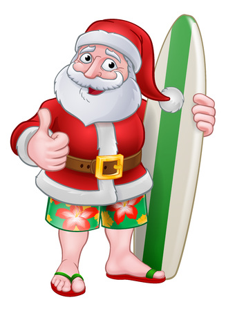 Santa Claus in shorts and flip flops holding his surfboard Christmas cartoon