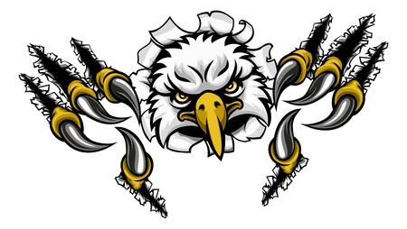 Adler-Karikatur-Sport-Maskottchen, das Hintergrund zerreißt Vektorgrafik