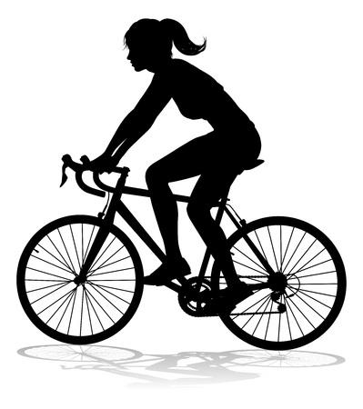 femme, vélo, cycliste, équitation, bicyclette, silhouette Vecteurs