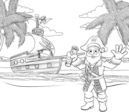 A cartoon pirate on a beach holding a treasure map with his ship in the background childrens coloring page illustration