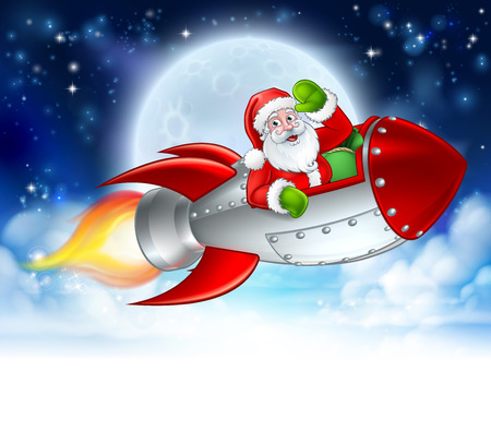 Santa Claus cartoon character in his space rocket sleigh flying over a winter moon