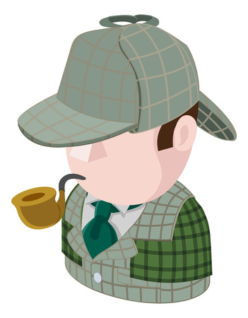 Detective Man Avatar People Icon Illustration