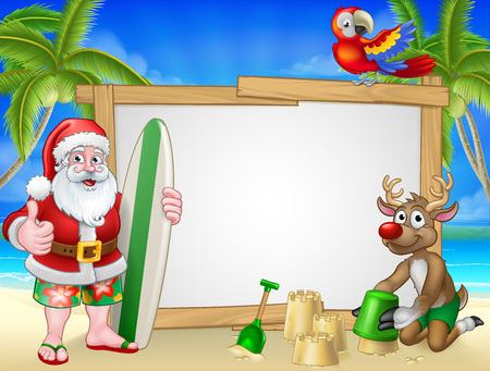 Santa Claus and Reindeer Surf Beach Christmas Sign