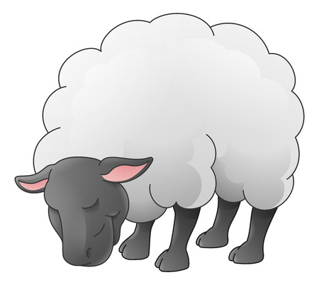 A sheep animal cute cartoon character black and white coloring illustration Illustration