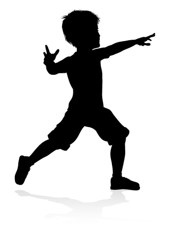 A high quality detailed kid or child in silhouette playing and having fun