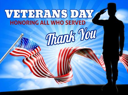 Drapeau américain Veterans Day Soldat Saluant