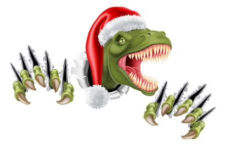 Santa Christmas Hat T Rex Dinosaur