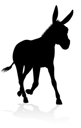 A detailed high quality donkey animal silhouette Illustration
