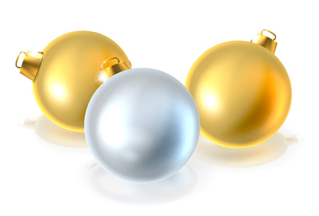 A set of gold and silver Christmas bauble balls ornament decorations