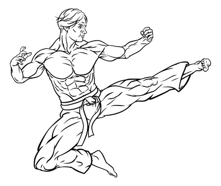 A karate or kung fu martial artist delivering a flying kick wearing gi trousers and belt in outline