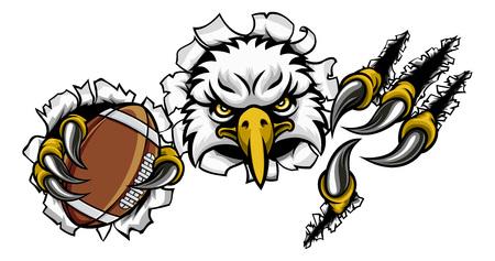 Adler-Fußball-Karikatur-Maskottchen, das Hintergrund zerreißt