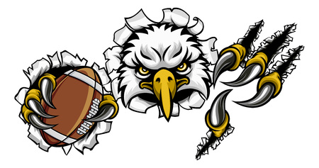 Eagle Football Cartoon Mascot Tearing Background Çizim