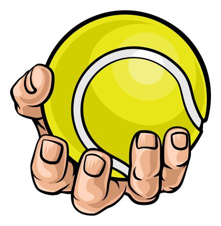 Mano sosteniendo una pelota de tenis
